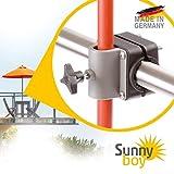 Sonnenschirmhalter Balkongeländer - Sunnyboy, der Kleine - Platzsparender Balkon Schirmhalter für Sonnenschirme mit Schirmstock Ø bis 25mm - Made in Germany