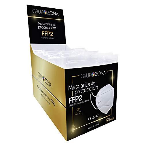 Mascarillas FFP2 blancas homologadas y fabricadas en España CE 2797, filtrado de 5 capas - GrupoZona - Mascarilla ffp2 protección respiratoria