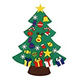 CMJL Feltro Albero Natale, 3.1ft Albero Natale, 26 Piccoli Ornamenti della Staccabili, Decorazioni per Pareti di Porte, Regalo di Natale per Bambini