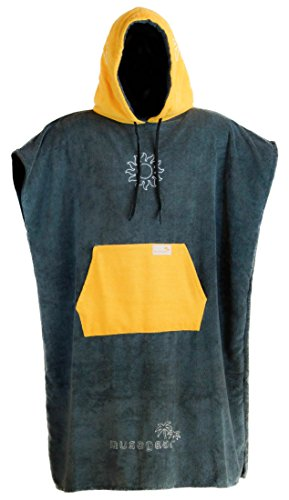 musegear Surf Poncho Erwachsene - Mobile Umkleide - one Size - orange/anthrazit – Umkleidehilfe und kuscheliger Bademantel - Modisch und nützlich