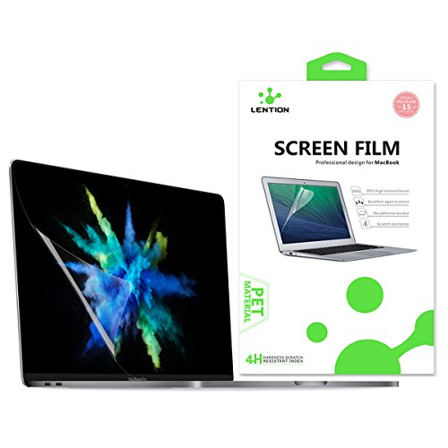 LENTION Screen Protector for MacBook Pro (15 inch, 2016-2019) Model A1707/A1990, with Touch Bar and 4 Thunderbolt 3 Ports, HD Clear Protective Film with Hydrophobic Oleophobic Coating