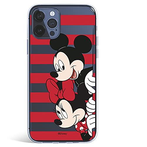 Funda para iPhone 12 Pro MAX Oficial de Clásicos Disney Mickey y Minnie Asomados Rayas para Proteger tu móvil. Carcasa para Apple con Licencia Oficial de Disney.