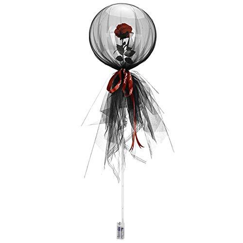 Fascino-M LED Luminous Balloon Luftballons Transparent Leuchtende Rose Bouquet Rosenblüte, Muttertag Geburtstag Hochzeitsfeier Dekoration Geschenk Luftballons Geschenk für Mama und Großmutter
