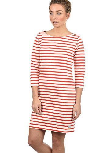 BlendShe Eni Damen Sweatkleid Sommerkleid Kleid Mit Streifen-Optik Und U-Boot-Kragen Aus 100% Baumwolle, Größe:L, Farbe:Fiery Red (26000)