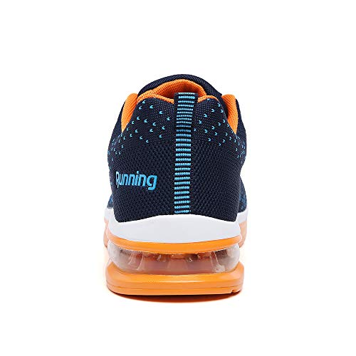 Men Trainers Sport Running Shoes air Cushion Athletic Tennis Walking Sneakers Gym Fitness Trail Trainer Blue Orange Size 11