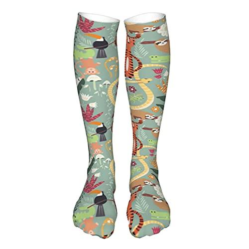 Calcetines de compresión para mujer y hombre, lindos animales de la selva tropical tigre serpiente perezoso mejor apoyo para correr, deportes, senderismo, viajes en vuelo, circulación