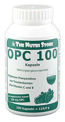 OPC 100 mg vegetarische Kapseln 200 Stk - Oligomere Procyanidine aus Traubenkernen plus Vitamin C und E - gegen freie Radikale
