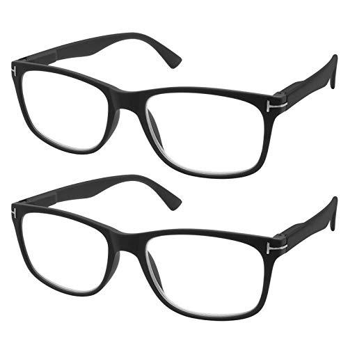 TBOC Lesebrille Lesehilfe für Herren und Damen - [Pack 2 Einheiten] Dioptrien +2.50 Schwarz Fassung mit Stärke für PC Handy Trend Frauen Männer Senioren Alterssichtigkeit Presbyopie