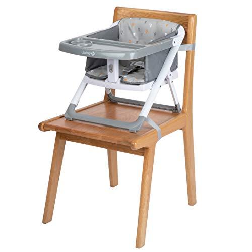 Safety 1st Take Eat Trona bebé portátil y plegable, Trona elevador de viaje, Asiento de bebés suave y acolchad, con bandeja, color Warm Grey