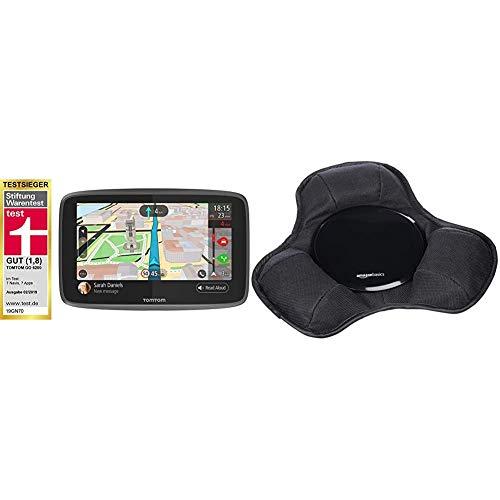 TomTom GO 6200 Pkw-Navi & AmazonBasics - Armaturenbrett-Halterung für tragbare Navigationsgeräte von Garmin, TomTom, Magellan und anderen Marken, Neues Design