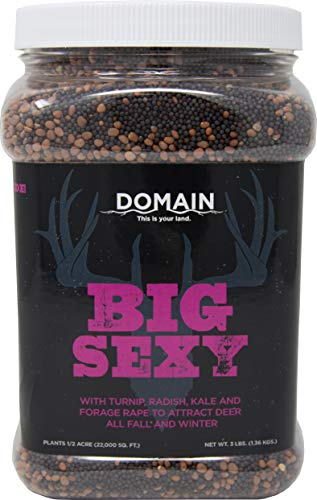 Domain Outdoor Big Sexy Deer Food Plot Seed, 1/2 Acre, High Level of Nutrients & Protein to Support Antler Growth and Health, Cold Tolerant, Fast Germination, Easy to Plant Seed