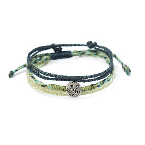 Wakami New World Braided Friendship Bracelets For 3   Vsco Bracelets - PLANTS   Best Friend Bracelets 3 Kids   Zinc Alloy Metals, Waterproof   Sliding Closure   BFF Matching Bracelets