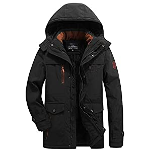 Men's Fleence Lined Coat Detachable Hood Stand Collar Plus Size Black...