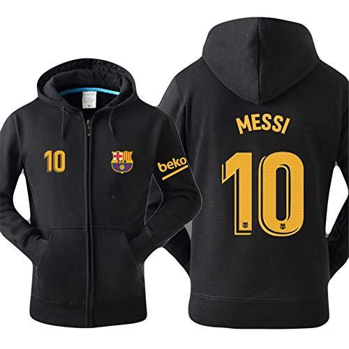 WYNBB Sweatshirt Barcelona Lionel Messi 10 Fan Hoody Geschenk für Fußballfans Liga Phänomen Kapitän Herren,Black