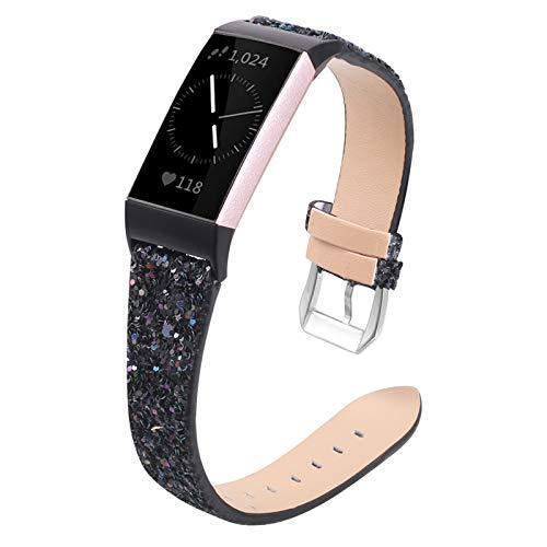 XIALEY Correa Compatible con Fitbit Charge 4/Charge 3, Mujeres Niñas Bling Glitter Pulsera De Cuero Brazalete De Repuesto Hebilla De Metal Pulsera para Charge 3 / Charge 4,Negro