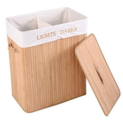 uyoyous 竹製 ランドリーバスケット 蓋付き ランドリーボックス 分割式 竹洗濯籠 洗濯物バスケット 折りたたみ 洗濯カゴ フタ付き 取っ手付き 衣類かご 大容量 洗濯物入れ