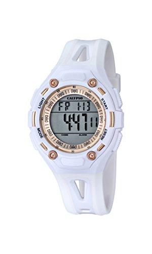 Calypso–Reloj Digital Unisex con LCD Pantalla Digital Dial y Correa de plástico Color Blanco K5666/1
