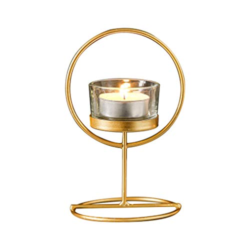 gszfsm001 Creative Wrought Iron Gold Glass Candle Holder Star Metal Round Christmas Tree Geometric Tea Light Candle Holder Vintage Wedding Decoration