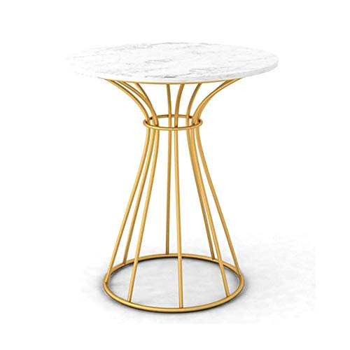 Mid Century Modern Golden Bronze Oval Accent End Side Table with Metal Wire Frame Base, Marble Tabletop, Home Essentials