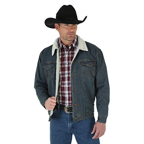 Wrangler mens Western Style Lined denim jackets, Denim/Rustic Sherpa, Large Tall US