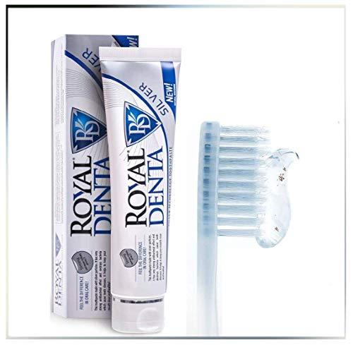 Royal Denta Silber Natürliche Zahnaufhellungs-Zahnpasta, mit Aloe Vera und Silber-Nanopartikeln, Fluorid kontaktierend, 130g