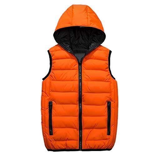 Wodechenshan Herren Daunenweste,Herbst Winter Kapuzen Daunenweste Ärmellose Jacke Für Herren Mode Warm Orange Baumwolle Weste Light Plus Size Herren Arbeitswesten Weste, XXL