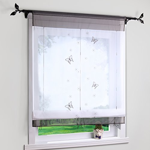Yujiao Mao Bändchenrollo mit Besticke Schmetterlinge Transparent Raffgardinen Raffrollo Grau BxH 100x140cm