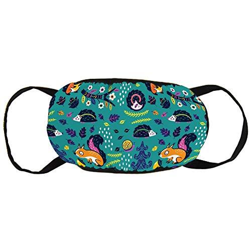 Stofvervuilingsmasker, vos ezel en fruit in het bos, zwart oor puur katoen masker, geschikt voor mannen en vrouwen maskers