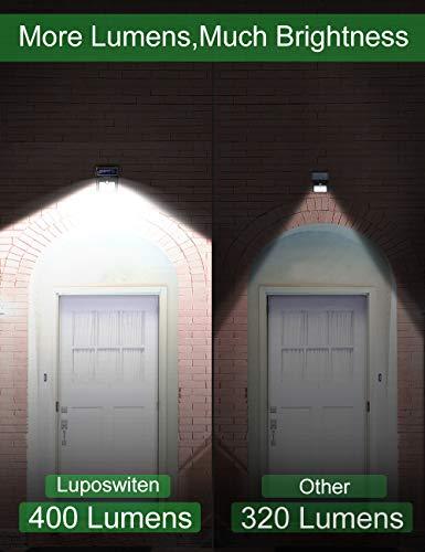 28 LEDs Solar Lights Outdoor, Luposwiten Solar Motion Sensor Lights Wireless Security Lights, 400 Lumen Waterproof Solar Powered Lights for Steps Yard Garage Porch Patio(4-Pack)