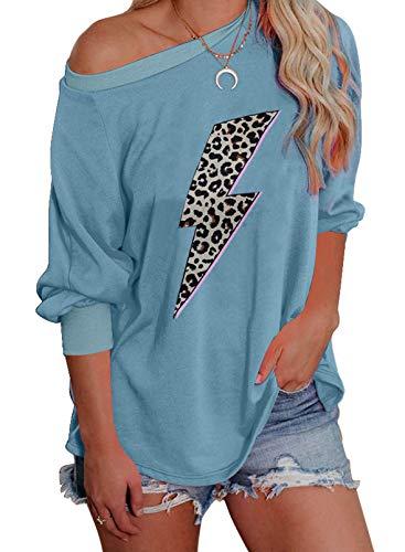 Sudadera de manga larga con estampado de estampado para mujer, estilo casual, suave, color azul