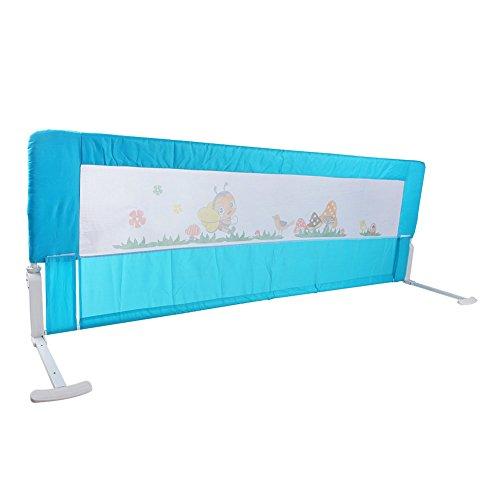 Bettgitter Bettschutzgitter Klappbar Tragbares Faltbar Rausfallschutz Bettschutzgitter für Baby Kinder 180 cm/ 150 cm (Rosa/Blau) (Blau 150 cm)