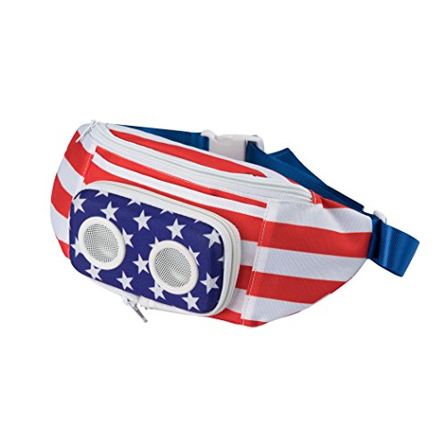 The #1 American Flag Fannypack with Speakers. Bluetooth Fanny Pack for Parties/Festivals/Raves/Beach/Boats. Rechargeable, Works with iPhone & Android. #1 Bachelor Party Gift (2019 Edition)