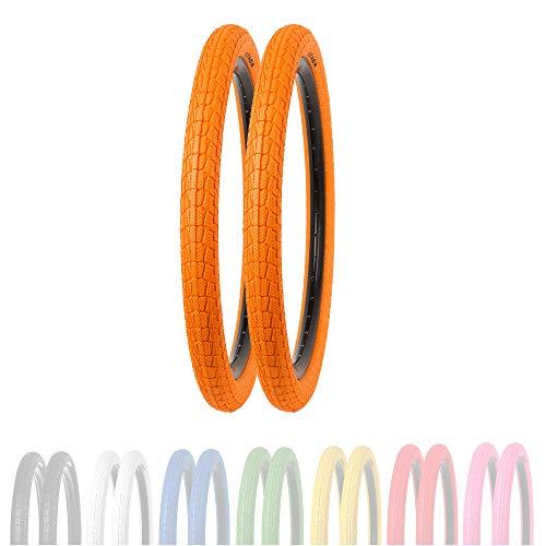 P4B | 2X 20 Zoll Kinderreifen (50-406) | 20 x 1.95 | Verstärkte Karkasse für erhöhten Pannenschutz | Für BMX, Freestyle und Kinderfahrräder (F) 2X Reifen in Orange