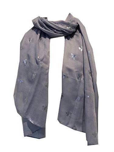 Pamper Yourself Now Langer Schal mit Hummeln, Grau / silberfarben Tolles Geschenk für Bienenliebhaber