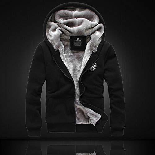 Winterverdikking Warme sweaterjas Vest met capuchon Topjes voor heren Hoodies met lange mouwen Jas Rits Comfortabel Dagelijks gebruik Zwart