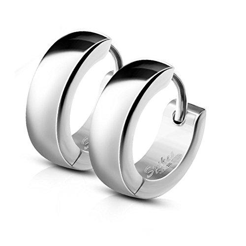 Bungsa CREOLEN mit Clipverschluss Edelstahl silber   1 Paar = 2 Stück   für Damen & Herren/Frauen & Männer - modische KLAPPCREOLEN Ohrstecker Ohrringe silberfarben - Huggie Earrings silber