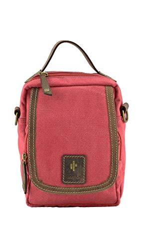 Cactus Canvas and Distressed Oiled Leather Small Organiser Bag 830_81 Red
