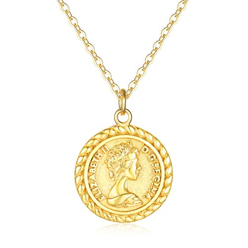 VACRONA Coin Necklace for Women 18k Gold Plated Vintage Coin Round Pendant Necklace Gold Layered Coin Choker Necklace Circle Disk Medal Textured Medallion Protection Dainty Jewelry Gift for Her