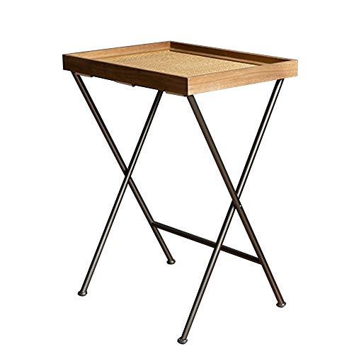 Feifei Table d'appoint en Fer forgé + Table d'appoint en Bois Multifonctions Salon Chambre Loisirs Table Basse Pliante 48 * 38 * 66.5CM