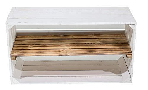 moooble 1er Set Breite weiße Obstkiste mit geflammtem Mittelbrett 68cm x 40cm x 31cm Holzregale quer mit Zwischenbrett Weinkiste Natur Vintage-Style Gartenmöbel Fach flambiert