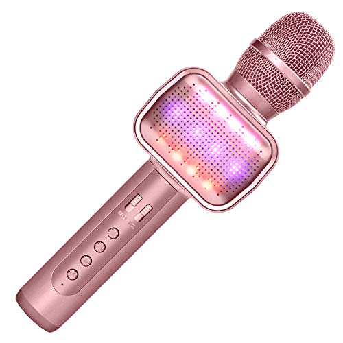 Leeron Karaoke Microphone, Portable Handheld Wireless Bluetooth Karaoke Microphone Machine Music Sing Mic for Home Party Christmas Birthday Gifts and Kids Girls Toys Age 5 6 7 8 9 (Rose Gold)