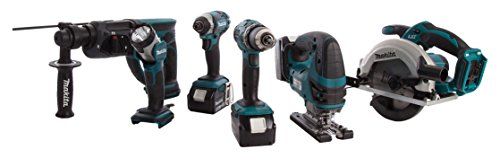 Makita DLX6068PT 18 V Li-Ion Cordless Kit with Twin Charger and 3 x 5 A Batteries - Blue/Black (6-Piece)