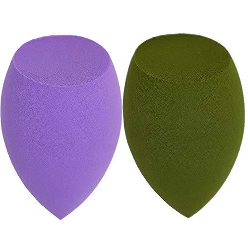 DOLOVEMK 2PCS / Pack Ensemble de mélangeur de éponge de maquillage, éponge de fond de teint lisse sans latex, mélangeurs de mélange de beauté doux en forme d'olive oblique (violet et matcha)