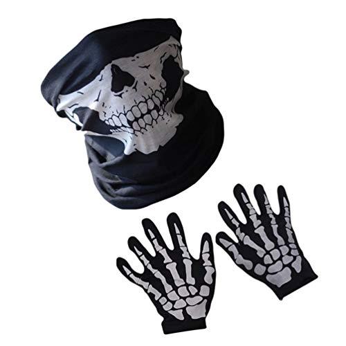 Amosfun - 3 guantes para disfraz de calavera de Halloween, diseo de esqueleto, para fiestas, fantasmas, crneos, pasamontaas para el rendimiento