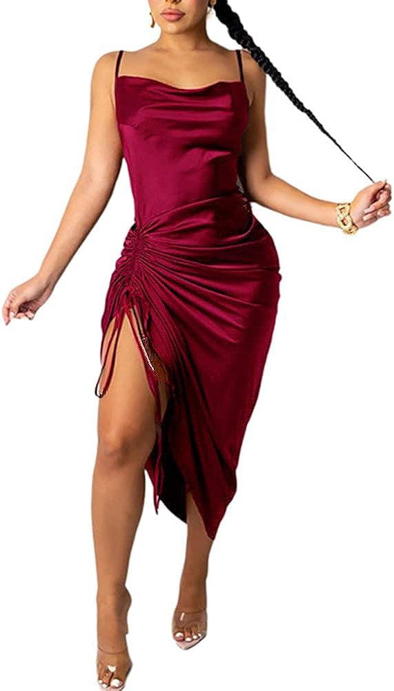 Sulozom Women's Sleeveless Spaghetti Strap Ruched Satin Dress Drawstring Cowl Neck Midi Dresses