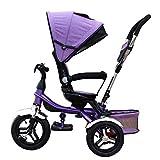 Patrulla de la Pata del Triciclo de 4-in-1 Child, Bicicleta Trolley Kids Push Trikes para la Bici de la Rueda del bebé 3 con la manija del Padre y el toldo Anti-Ultravioleta