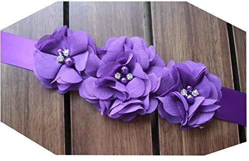 Bridesmaid and Flowergirls sashes wedding sash pearls flowers belts Purple