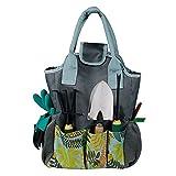 Winwinfly ガーデンツールバッグガーデニングトートバッグ屋外マルチポケットガーデンツールキットオーガナイザーバッグコンパクトハンドツールガーデナー収納バッグ(葉)