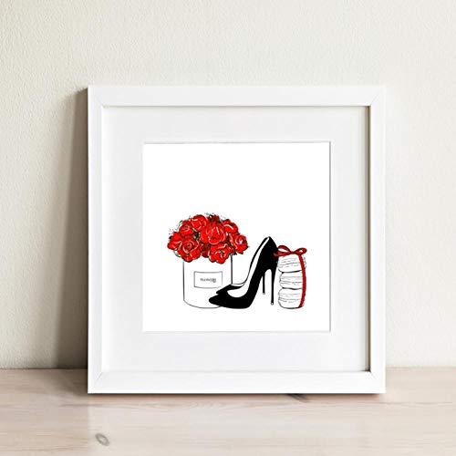 Terilizi minimalistische afbeeldingen rode bloemen hoge hakken schoenen canvasafbeeldingen modeaffiches decoratieve winkel muurkleuren-50 * 70cm zonder lijst