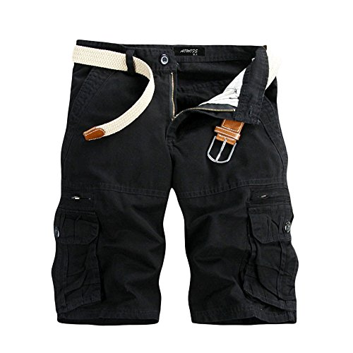 Aiserkly Männer Casual Pure Color Outdoor Pocket Strand Arbeitshose Cargo Shorts Hose Herren Cargohose Chinohose Strandhosen Sommer Freizeithose Schwarz 36